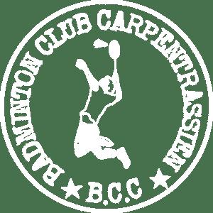 le logo du badminton club carpentrassien BCC en version blanche